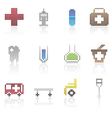 Medical and healtcare pixel icons vector