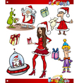 Christmas themes cartoon set vector