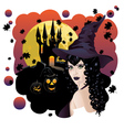 Witch and bats3 vector