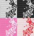 Set of lace seamless patterns with butterflies vector