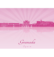 Granada skyline in purple radiant orchid vector