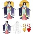Queen of hearts asian actress mafia card set vector