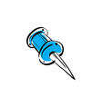 Blue pushpin isolated on white background vector