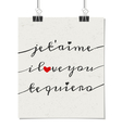 I love you poster in french english and spanish vector
