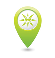 Sun symbol green map pointer vector