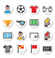 Soccer or football round icons set vector