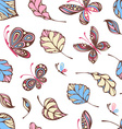Seamless pattern of butterflies and leaves vector