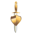 Gold dagger under gold shield vector
