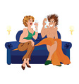 Cartoon couple drinking champagne cocktail sitting vector