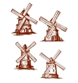 Hand-drawn windmills in vintage style vector