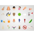 Set icons of allergy in a flat design vector