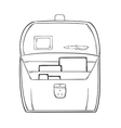 Sketch of the open briefcase with documents vector