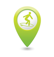 Surfing icon green map pointer vector