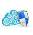 3d cloud computing with protection shield vector