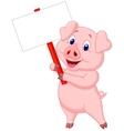 Pig cartoon holding blank sign vector