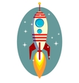 Rocket space ship on blue background vector