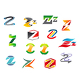Letter z alphabet symbols vector