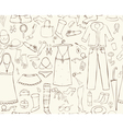 Seamless background woman things vector