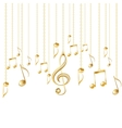 Card with musical notes and golden treble clef vector