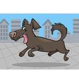 Running little dog cartoon vector