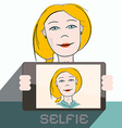 Selfie cell phone photo of blonde woman - vector
