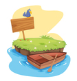 Island with dinghy vector