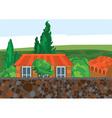 Cartoon house trees and wall vector