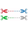 Set colorful scissors with dotted lines vector