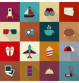 16 flat travel icons with shadow vector