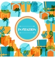 Invitation background or card with colorful gift vector