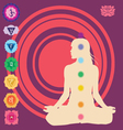 Yoga position with the symbols of seven chakras vector