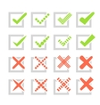 Set of different check marks or ticks and crosses vector