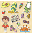 Happy girl with summer vacation objects vector