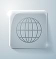Glass square icon globe symbol vector