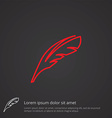 Feather outline symbol red on dark background logo vector