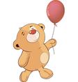 A stuffed toy bear cub and a toy balloon cartoon vector
