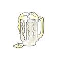 Mug of beer with overflowing foam vector