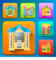 Colorful building icons vector