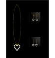 Elegant heart necklace set 2 vector