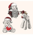 Christmas set hand drawn llustration vector