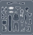 Set of snowboard clothing and kit silhouettes vector