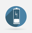 Discharged battery circle blue icon with shadow vector