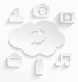 White cloud computing symbols arrows cut vector