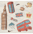 Colorful set of hand-drawn london symbols vector