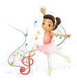 A girl dancing with musical notes vector