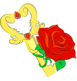 Golden key and red rose isolated on white backgrou vector
