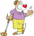 Cartoon dog leaning on a golf club vector