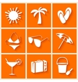Summer and beach icons in flat style vector