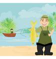 Fisherman and fishing boat vector