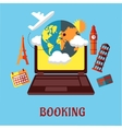 Online travel and booking flat concept vector
